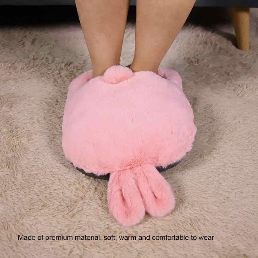 Usb зарядка мультфильм тапочки с подогревом мультфильм теплый плюш хлопок обувь удаляемый моющийся электрическая грелка для ног