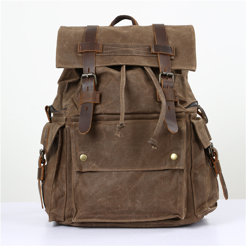 Nesitu High Quality Vintage Waterproof Coffee Grey Yellow Army Green Big Oil Wax Canvas Women Men Backpack Travel Bags M5358 цена 2017