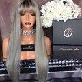 8А темные корни серый парик человеческих волос Бразильские кружева перед парики/кружева парики человеческих волос с волосами младенца вокруг для чернокожих женщин