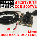 Real 1/3 sony ccd effio 4140dsp 811 800tvl chip de módulo analógico terminado monitor hd mini cámara 3.6mm 3.0mp menú osd de la lente cable
