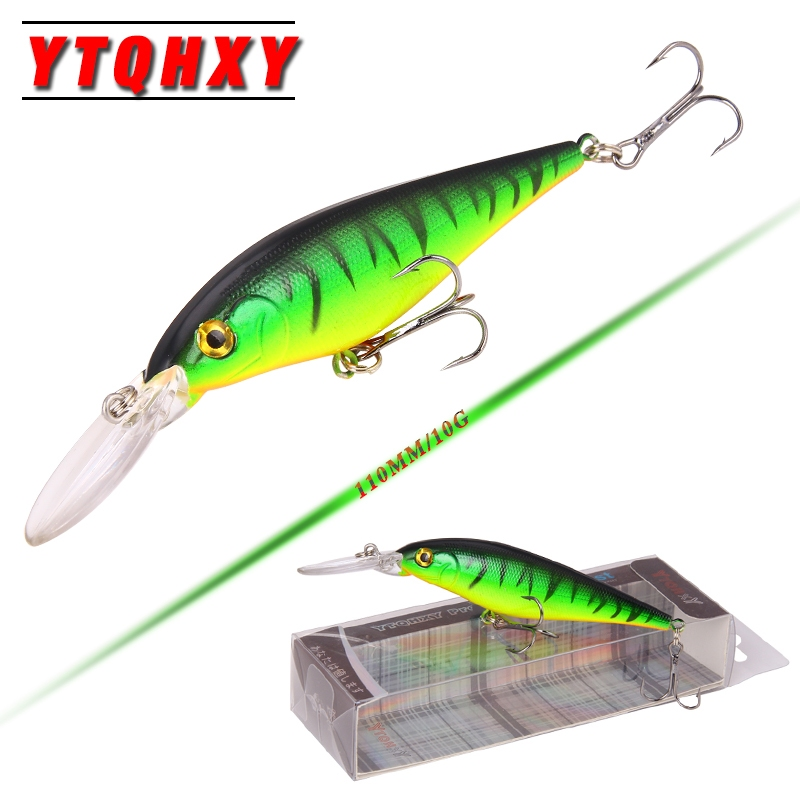 YTQHXY 110cm 9.5g Hard Bait Minnow Fishing lures 10 colors 6# hooks Artificial Bait 3D Eyes Lure Fishing Tackle YE-73BZ tsurinoya fishing lure minnow hard bait swimbait mini fish lures crankbait fishing tackle with 2 hook 42mm 3d eyes 10 colors set