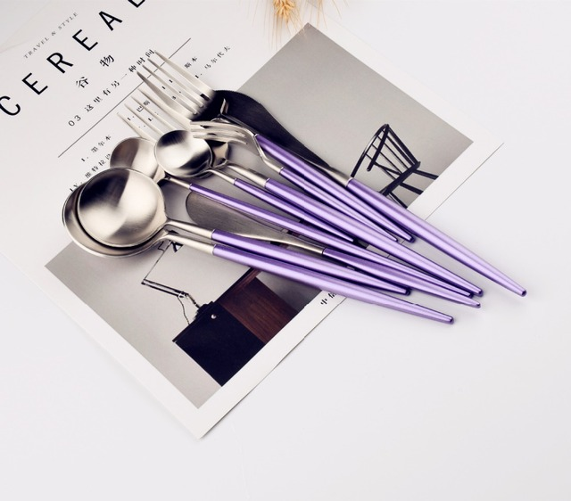 Lekoch New Arrivals 4PCS Set Cutlery Set Stainless Steel Purple Gold Silver Two Colors Dinnerware Set.jpg 640x640 - tabletop-and-bar, flatware - The Olivia Cutlery Set - In Purple