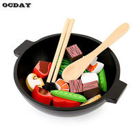 OCDAY Wooden Design Baby Kids Kitchen Toys Early Education Kids Cutting Vegetables Cooking Toys Pretend Play