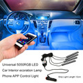 newest 5050RGB LED Car Interior Atmosphere Decoration Lamp Phone APP Control Vehicle LED Strip Light For IOS For Android