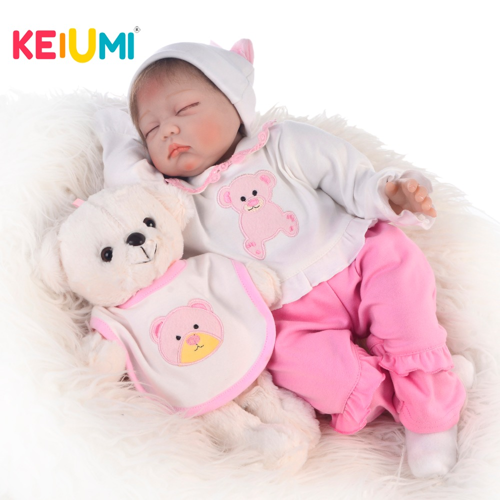 KEIUMI 22 Inch Toys Cute Reborn Baby Doll Soft Silicone Vinyl For Lifelike Close Eyes Fashion Children Playmates For Girls GiftsKEIUMI 22 Inch Toys Cute Reborn Baby Doll Soft Silicone Vinyl For Lifelike Close Eyes Fashion Children Playmates For Girls Gifts