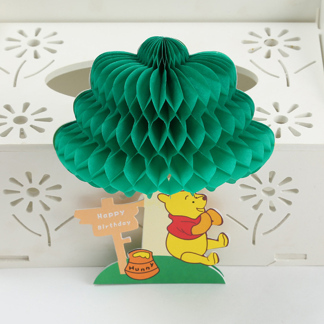 10 Pieces LotHandmade Creative 3D Pop Up Cute Bear Greeting Cards Happy Birthday Wish Card Kids Baby Gift Free Shipping
