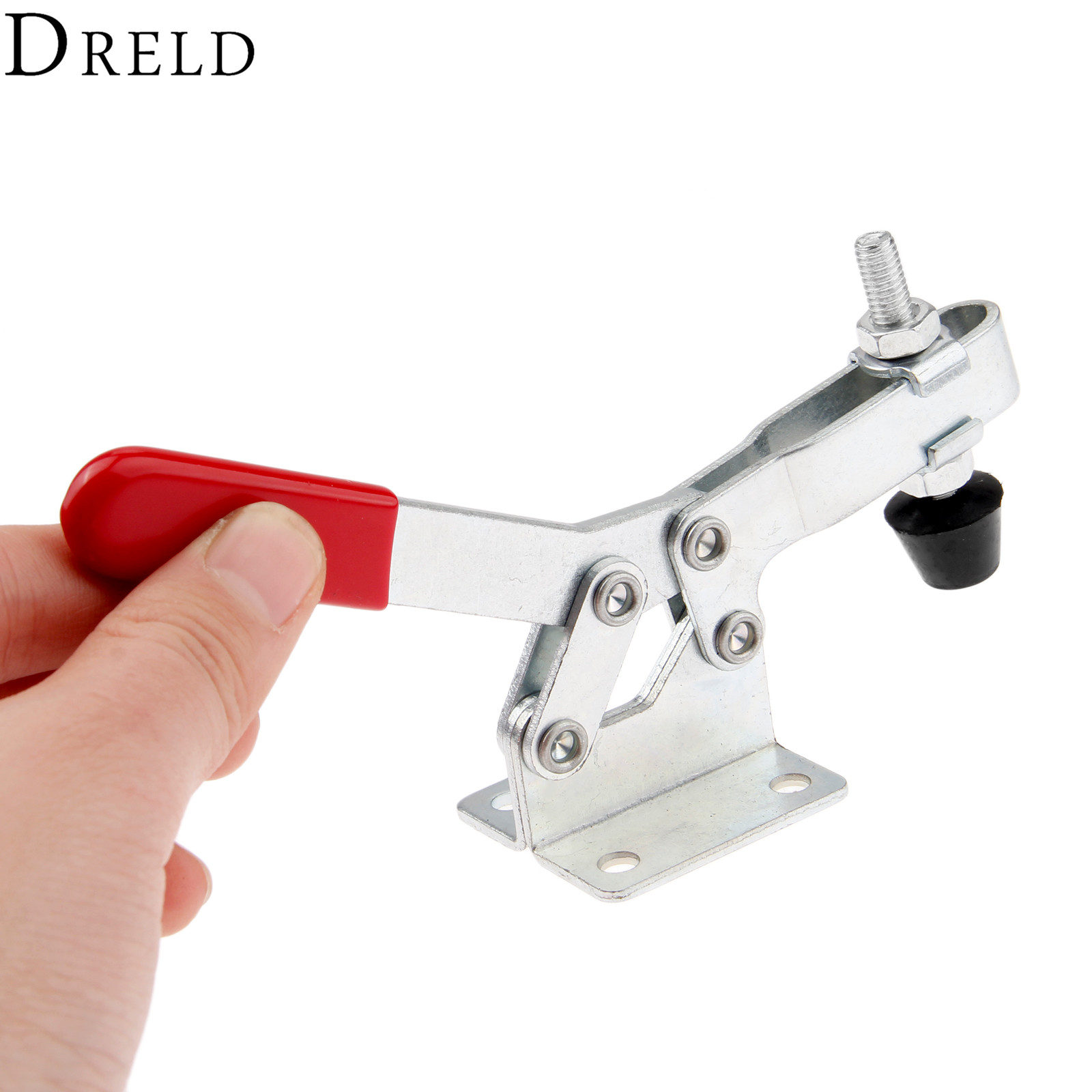 DRELD GH-203-F Horizontal Toggle Clamp Clip 227Kg/ 500 Lbs Quick Holding Capacity Fixed Bar Flange Base Toggle Clamp Hand Tool