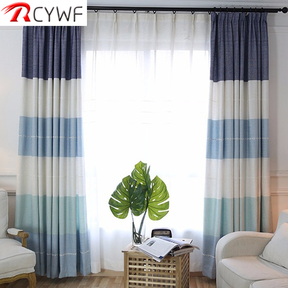 High quality european style window curtains stripes for - Blue and purple bedroom curtains ...