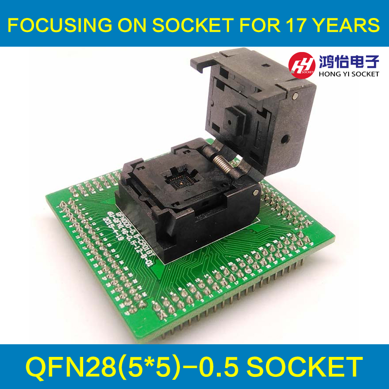 QFN28 MLF28 WLCSP28 to DIP28 Programming Socket Adapter Pitch 0.5mm IC Body Size 5x5mm IC550-0284-011-G Clamshell Test Socket waveshare ssop28 to dip28 b tssop28 enplas ic test socket programming adapter 0 65mm pitch