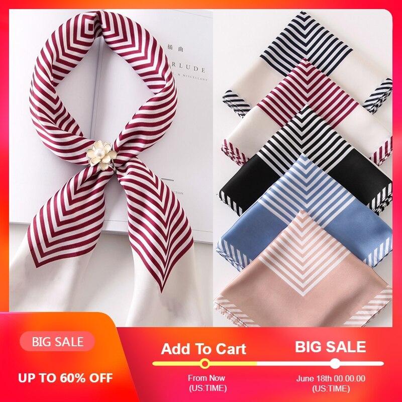 Hot Sale Women   Scarf   Luxury Brand Striped Dots Print Hijab Pure Silk Scarfs Foulard Square Head   Scarves     Wraps   2017 NEW Fashion
