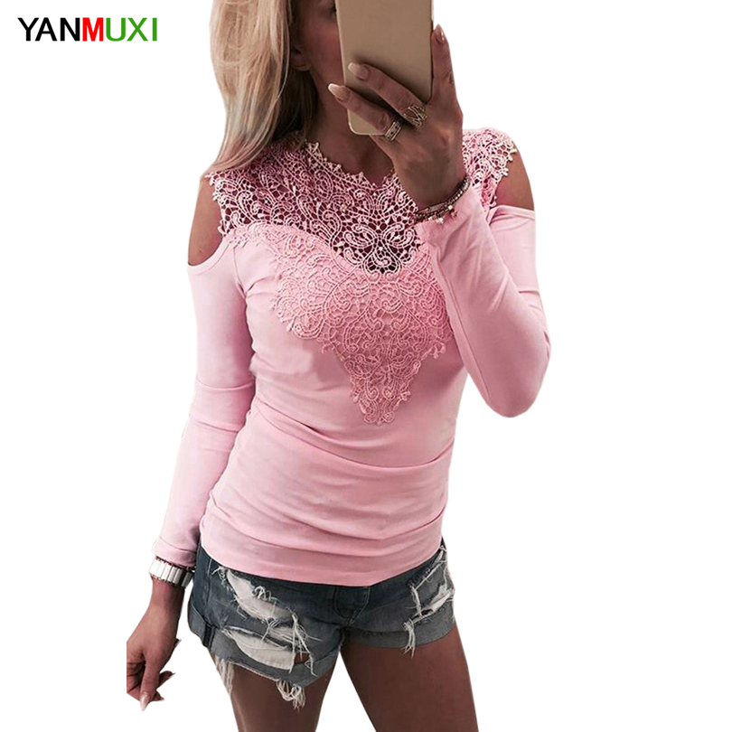 2017 Women Top New Fashion Long Sleeve T Shirt Sexy Off Shoulder Lace Patchwork Pink T-shirt Spring Summer Tops Casual Tops Tee