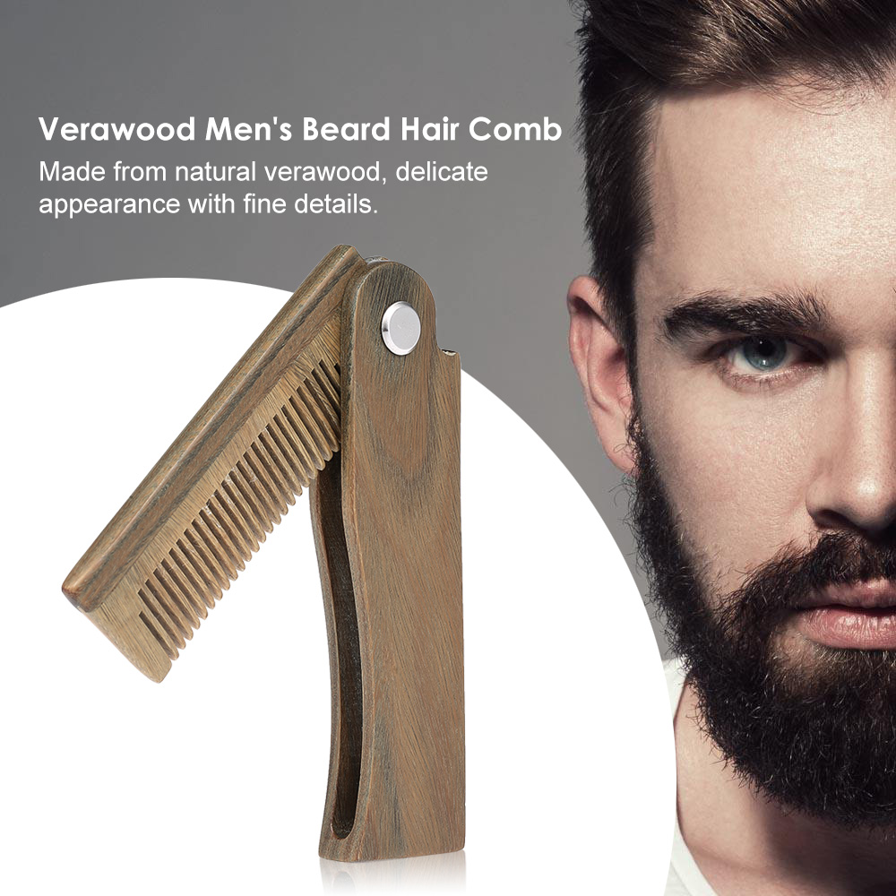 Mini Pocket Wooden Folding Beard Comb Men's Beard Hair Brush Anti-static Mustache Combs Male Facial Massage Hair Styling Tool 5