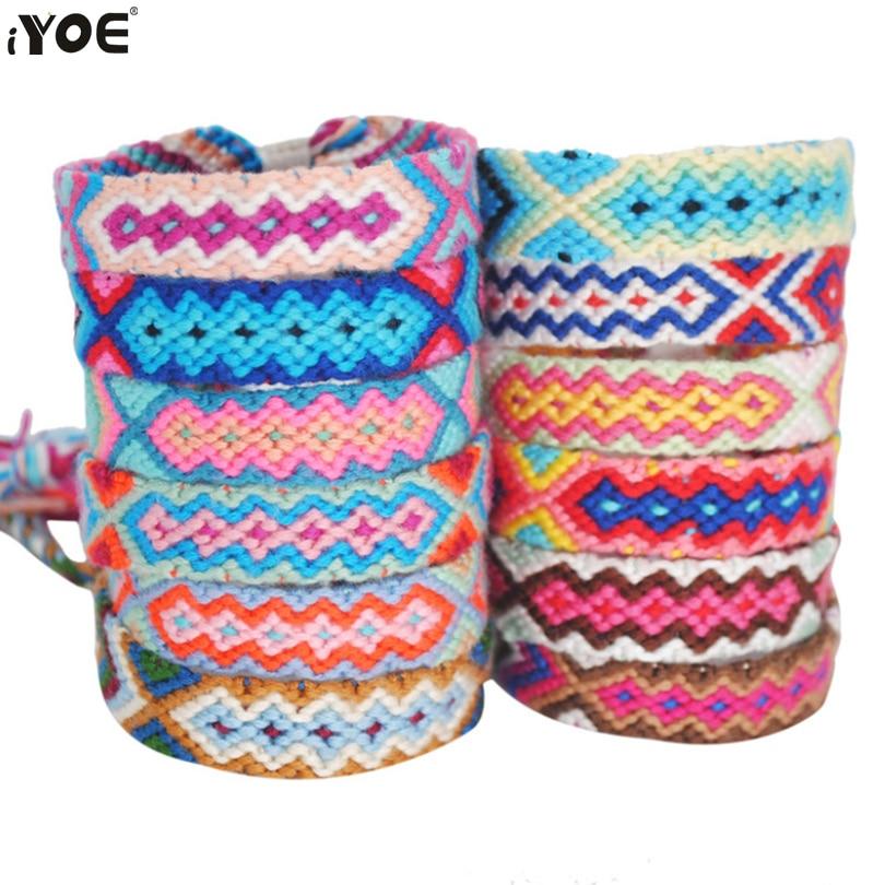 IYOE многоцветная веревочная нить в богемном стиле ручной работы, браслет геометрической формы в стиле бохо