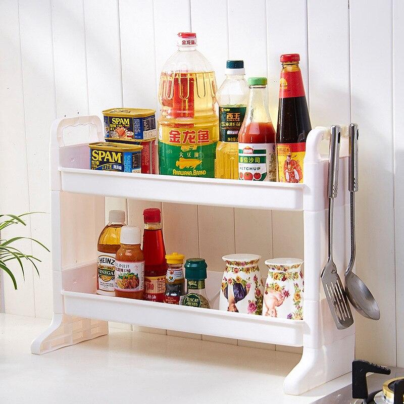 DIY Plastic Double Layer Bathroom Storage Rack Kitchen Sink Shelf Makeup Organizer  Spice Rack Kitchen Accessories