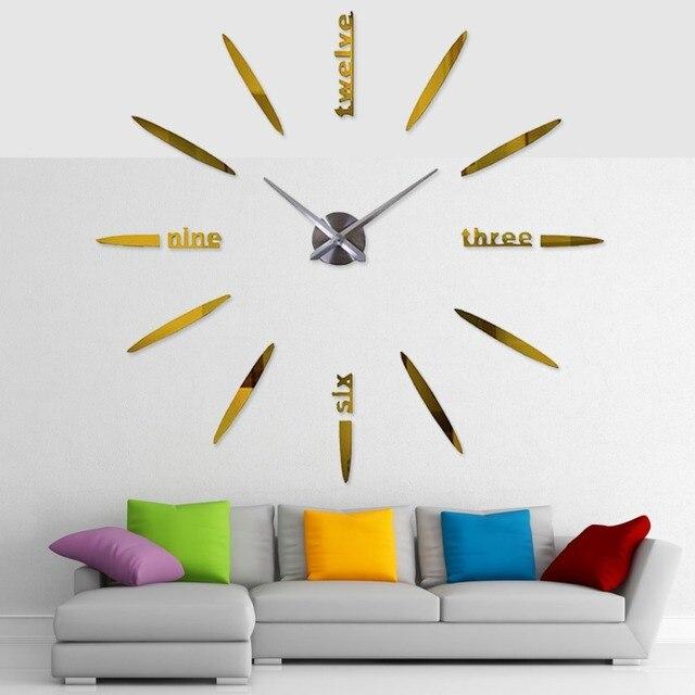3D Apressado Adesivo Espelho Relógio de Parede Design Moderno Relógio de Parede Digital Relógios Sala Adesivo de Parede Relógio de Quartzo Relógios Auto
