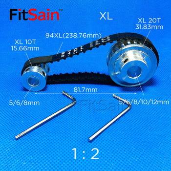 FitSain-XL 10T:20T 1 : 2 Width 10mm aluminum alloy pulley reduction ratio drive synchronous wheel center hole 5/6/8/10/12mm 4mm center hole gold tone alloy 1 2 external threading insert chip