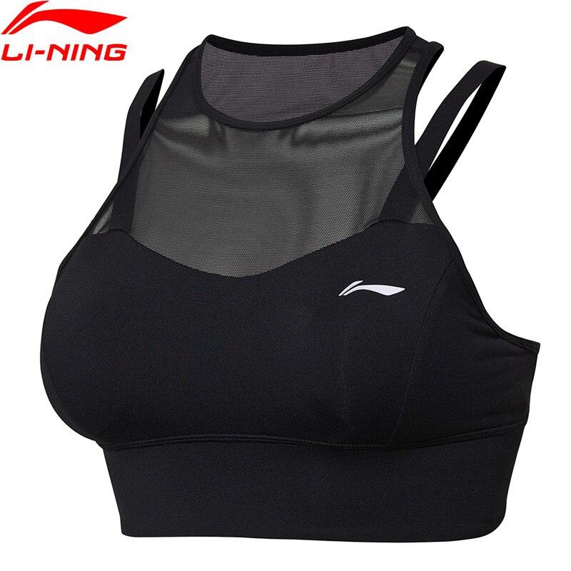 Li-ning Performance femmes Sport soutiens-gorge 78% Nylon 22% Spandex soutien moyen Fitness ajustement serré doublure Sport hauts de soutien-gorge AUBN046 NXX188