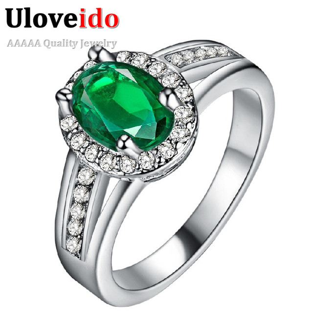 Silver Color Wedding Rings Female Jewelery with Green Stones Women Accessories J