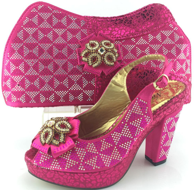 ME3332 New design Fuchsia pink platform high heel african italian shoes and matching bag for wedding