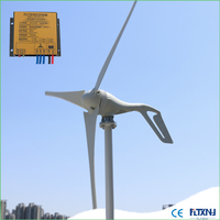 400W permanent permanent magnet 3 phase AC wind turbine generator 12v 24v 48v and 3 blades 5 blades with MPPT controller