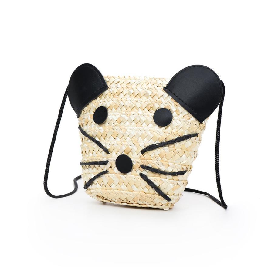 Mode Kinder Gras Weben Panda Schulter Tasche Diagonal Mädchen Einfarbig Zipper Quadratbeutel Handtasche # F PüNktliches Timing Gepäck & Taschen Kinder- & Babytaschen