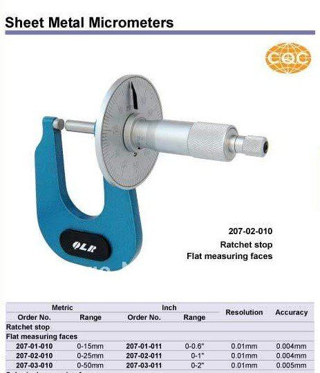 Sheet Metal Micrometers.0-25mm.0-1inch.Quality goods.  цены