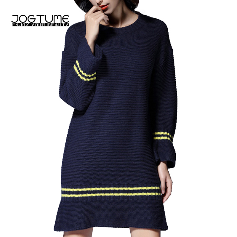 JOGTUME Sweater Dress Plus Size 2017 Autumn Winter Navy Blue Knitted Pullover Shift Dresses Warm Woman Casual Vestidos for Sale plus size double pockets knitted dress