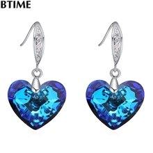 Grandes Cristales de Btime Chispas 925 Astilla Pendiente Para Las Mujeres Pendiente de Gota Del Corazón Azul 4 Color Cristales De Swarovski