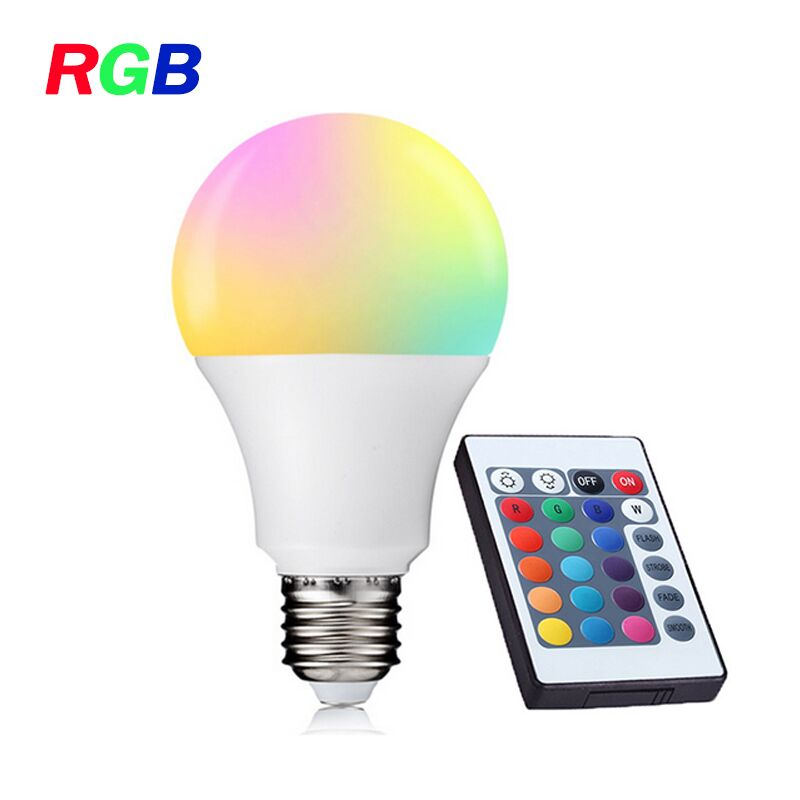 E27 RGB LED Bulb with IR Remote Control LED Lamp Cold White/Warm White 3W 5W 7W 9W 12W AC90-260V High Brightness led light e27 led bulb 10w rgb led bulb lamp 12 colors remote control led light for home decoration stage lighting led lamp