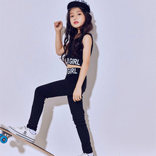 New Kids Jazz Dance Costumes Hip Hop Ballroom Dancing Wear Girls Black Modern Dance Suit Tops + Pants Leisure Street Dancewear boys modern jazz dancewear outfits kids hip hop party ballroom dance costumes sweatpants hoodie costumes tracksuit outfits