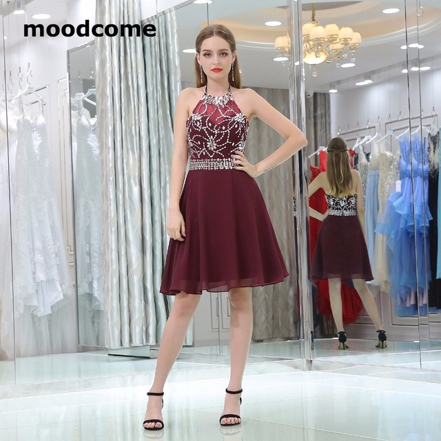 d71382e2d4 2018 Cute Candy Color Homecoming Dresses Halter Chiffon Beading Crystal Plus  Size Custom Made Formal Graduation Gowns