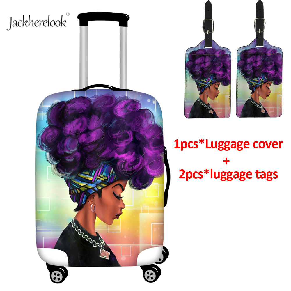 Black Art African American Girl Pattern Waterproof Luggage Covers And 2PCS Luggage Tags Afro Women Print Travel Case Protective
