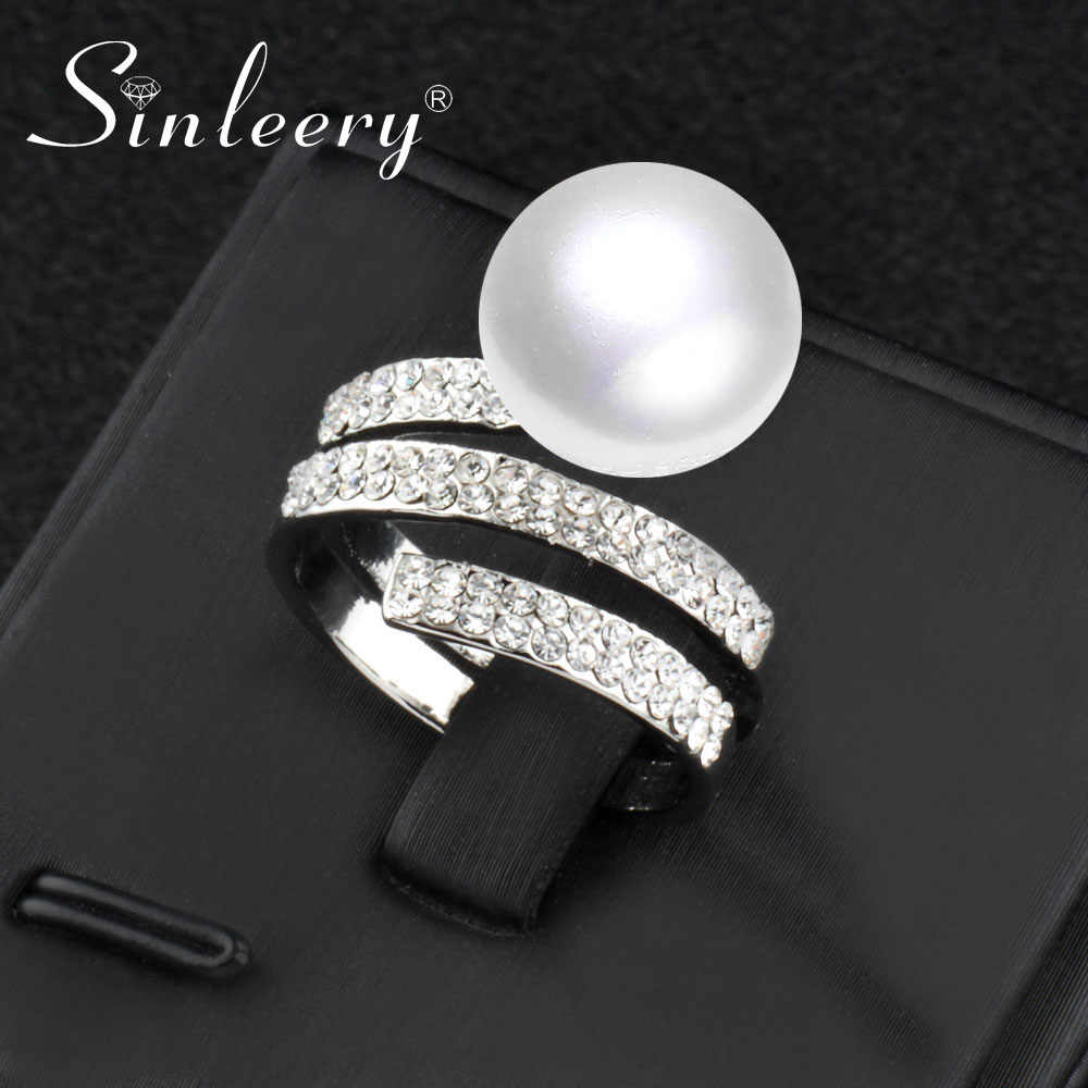 SINLEERY Fashion Silver Color Simulated Pearl Rings With Zirconia Micro Paved Rings for Women Wedding Party JZ558 SSI