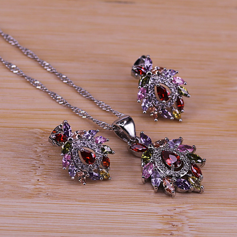 Risenj Artistic Vintage Cubic Zircon Jewelry set Colorful CZ Crystal Silver Color Pendant Necklace Earring Set for Women ST24.1