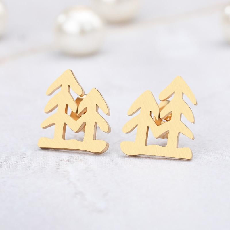 Christmas Tree Stud Earrings Bijoux Stainless Steel Geometric For Women Girls Jewelry Accessories