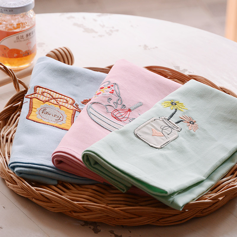 Patoral Style Cute Embroidery solid 100%cotton cloth mats pads thick rectangle placemats table decoration accessories 65*50cm