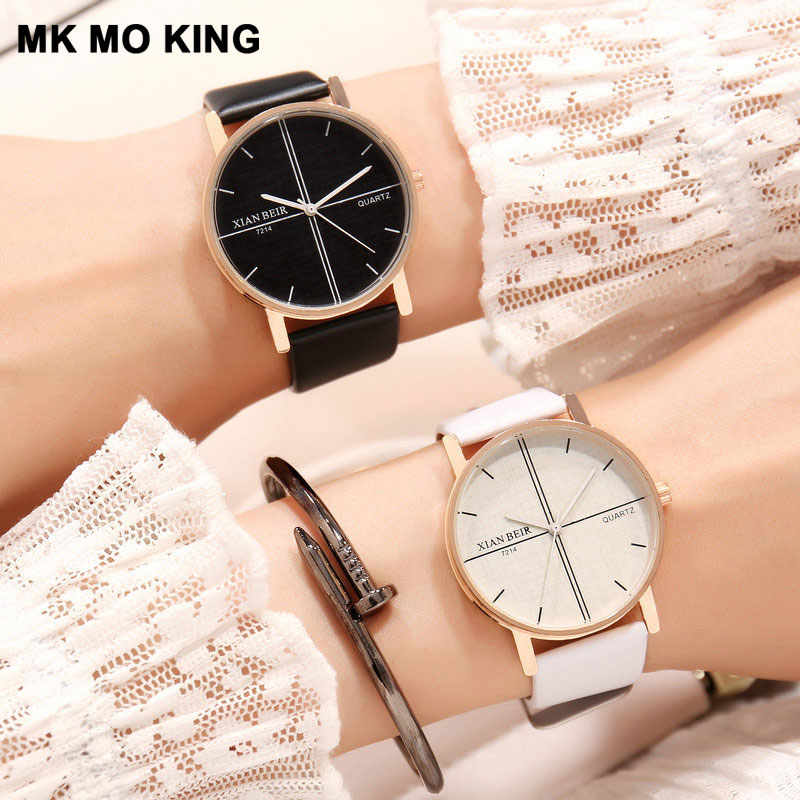 Casual Couple Watches Quartz Watch Men's Women's Simple Black And White Bicolor Leather Trend Clock Ladies Party Bracelet Gift