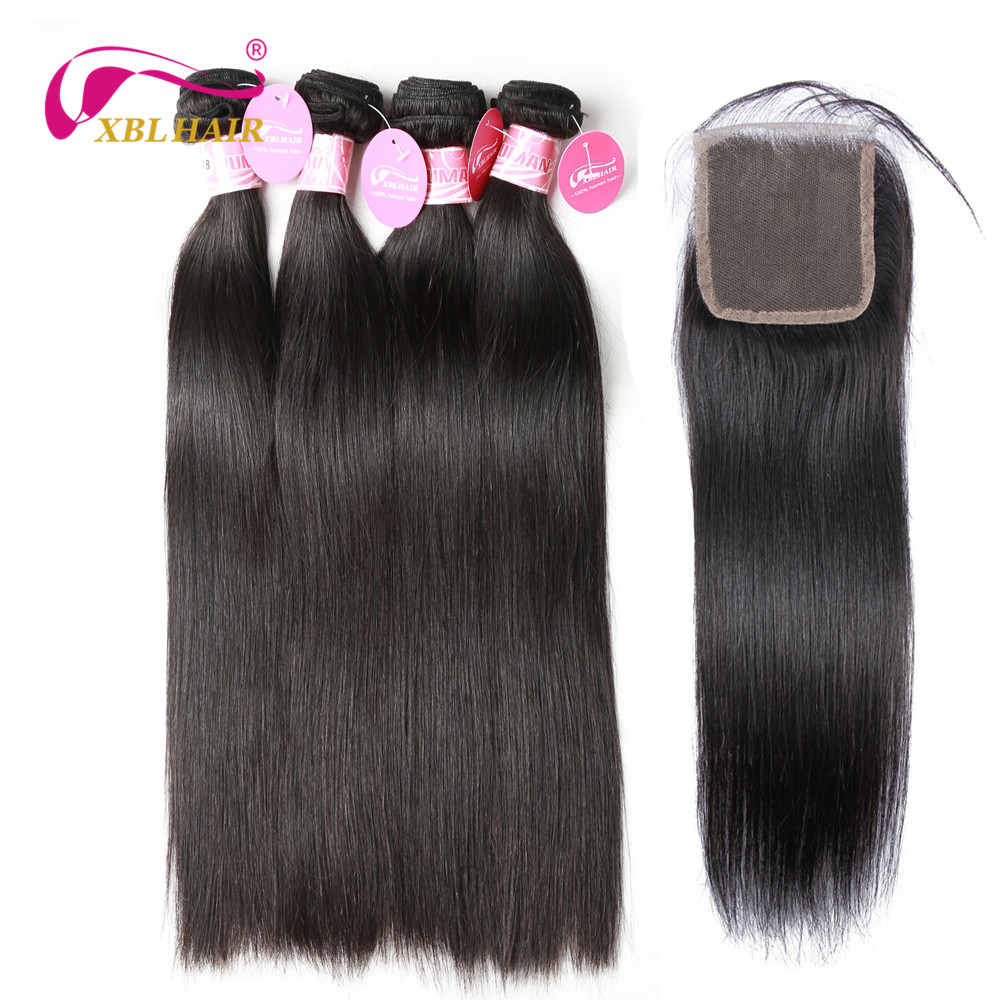 XBL Hair Peruvian Straight Bundles with Closure 100% Human Hair Bundles With Closure Remy 3/4 Bundles With Closure