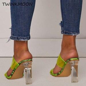 Image 3 - Chaussures claires talons hauts PVC bout ouvert sans lacet femmes néon sandales Sexy fête Transparent 2019 chaussures dété grande taille 35 42