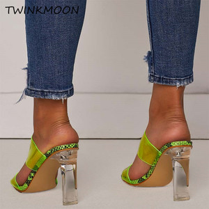 Image 3 - Clear Shoes High Heels PVC Open Toe Slip On Women Neon Sandals Sexy Party Transparent 2019 Summer Shoes Plus Size 35 42