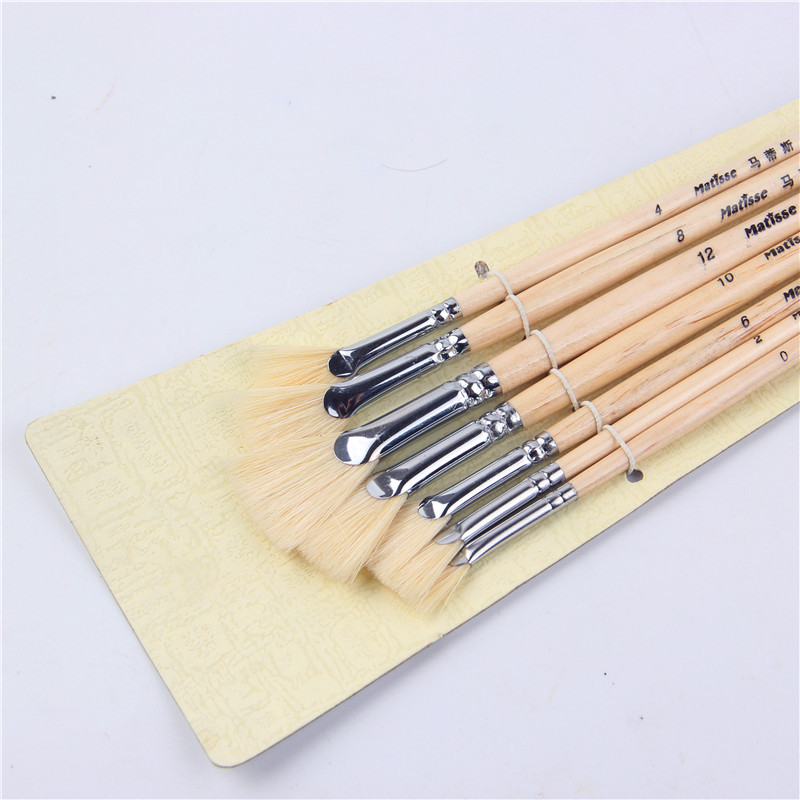 Pig Bristle Fan Shape Fish Tail Clear Paint Rod Oil Paint Brush Artists 7 Suit Gouache Paintbrush Art Supplies Brush Painting
