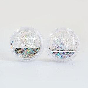 Image 5 - Copos de yuca láser para uñas lentejuelas brillo holográfico en polvo Galaxy Holo Nail Flakes Rainbow Nail Art Paillettes SF2010
