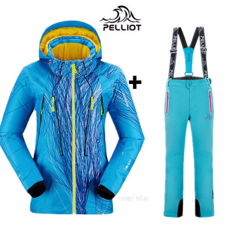 PELLIOT Marque Montagne Ski Costume Femmes Hiver Combinaison de Ski Snowboard Costumes Étanche Épaississent Chaud Ski Veste + Pantalons De Neige XXL