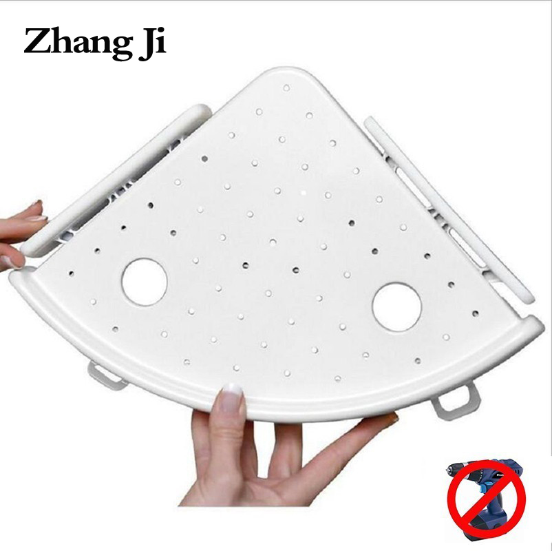 ZhangJi No Drill Corner Shelf Triple Wall Corner Storage Organizer Holder Rack Snap up Wall Shelves with Hook Bathroom Accessory