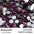 SS3-SS30 Amethyst Nail Art Rhinestones With Round Flatback For Nails Art Cell Phone And Wedding Decorations