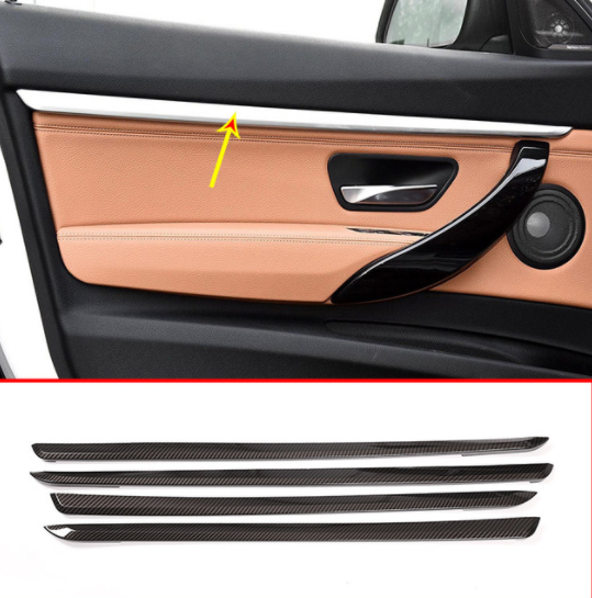 4pcs Carbon Fiber Style ABS Interior Car Door Decoration Strips Trim For BMW 3 series GT F34 2013-2018 Accessories