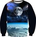Tamaño XS-6XL primavera 2016 mujeres / hombres de Color negro sudadera planeta tierra luna Galaxy impresión 3D sudaderas con capucha de lana de cuello redondo Tops