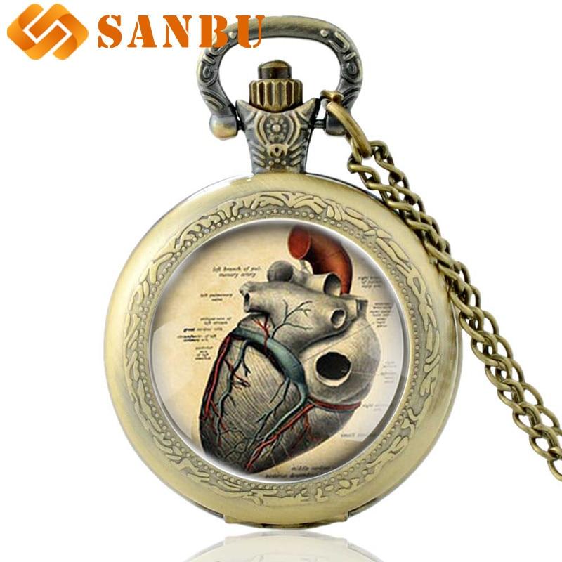 Anatomical Heart Necklace Watches Vintage Bronze Men Women  Anatomy Heart Quartz Pocket Watch Antique Pendant Jewelry