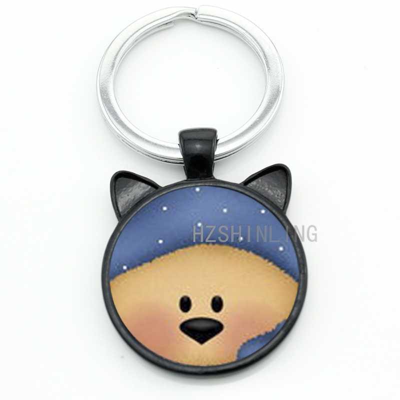 Bonito mulheres chaveiro moda dos desenhos animados pequeno urso de metal artesanal de vidro animal encantos chaveiro anel titular presentes de Natal TRILHO CN536