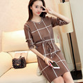 loose thick+ Autumn winter new women fashion basic o-neck sweater female long-sleeve plaid slim sweater one-piece dress pullover